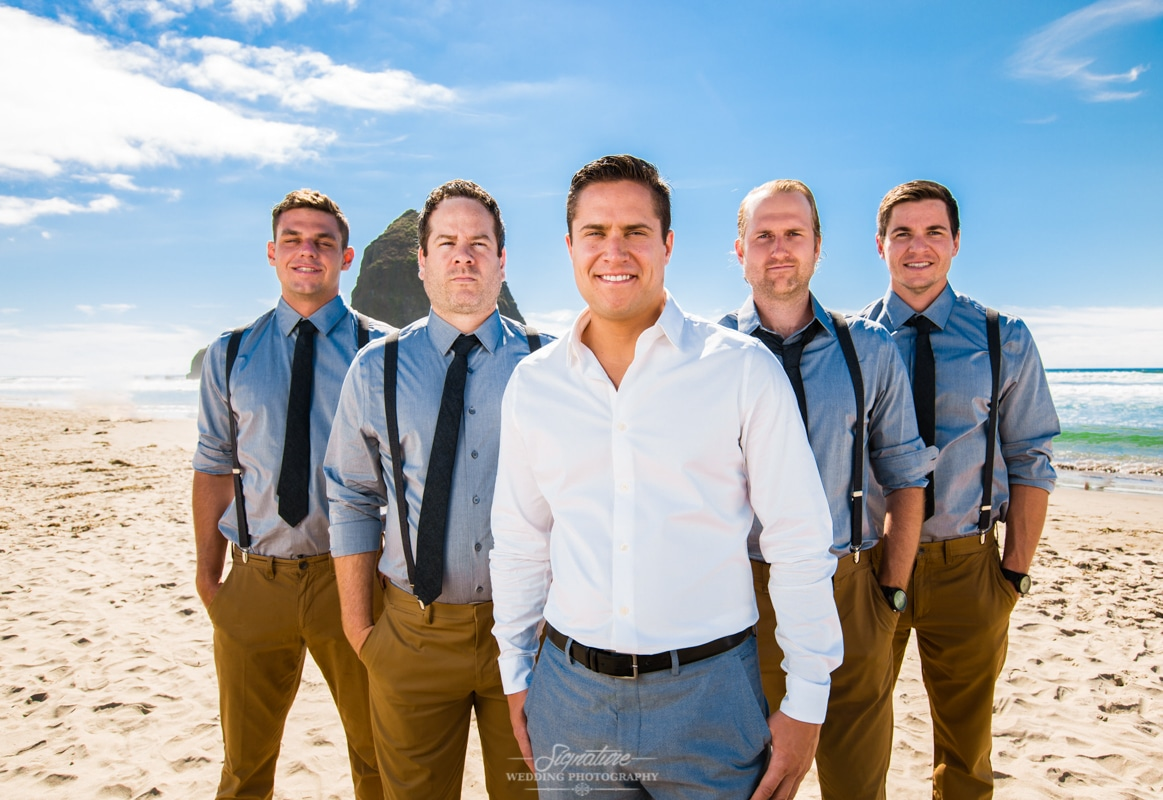 Oregon Coast Wedding Photographer Groom & Groomsmen