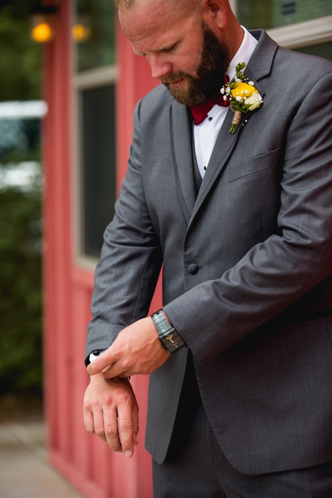 Groom at Windmill Winery Wedding
