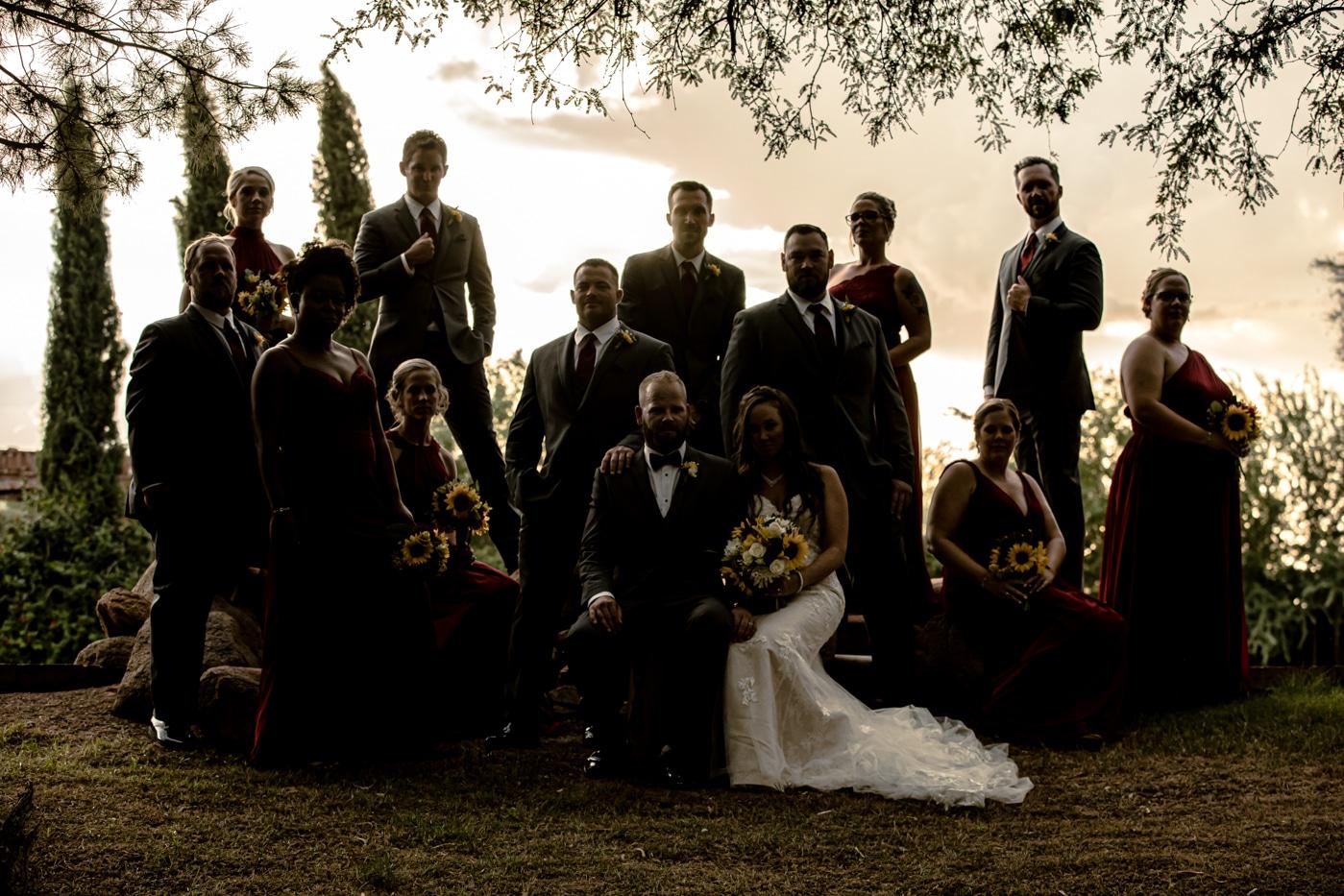 Wedding party creative photo