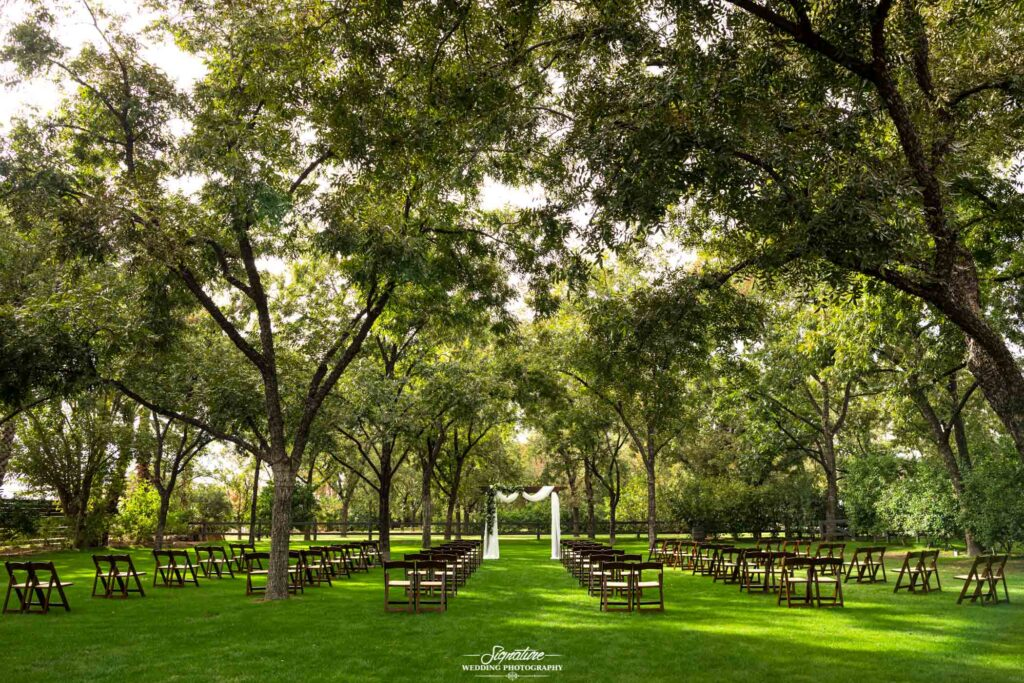 daytime wedding ceremony setup at venue at the grove